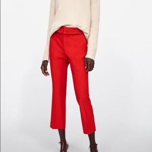 Zara Women's Pants Red Frilled Waist Size M Ankle